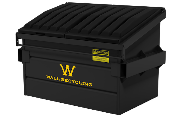 Wall Recycling black front load dumpster