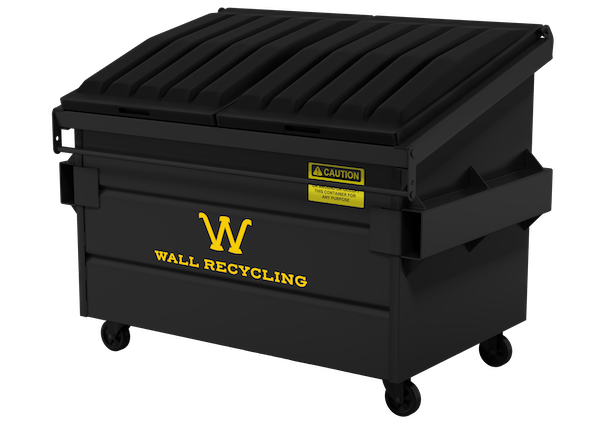 wall recycling black dumpster