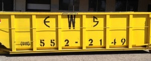 Yellow dumpster for rental in Raleigh