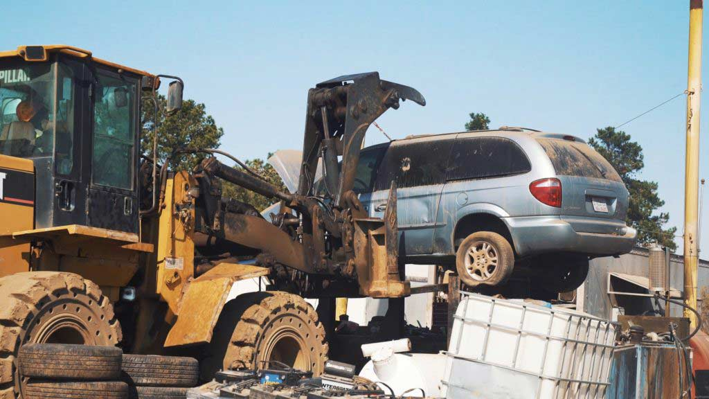 Raleigh auto salvage forklift moving van