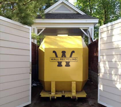 Wall Recycling compactor for commercial dumpster rental